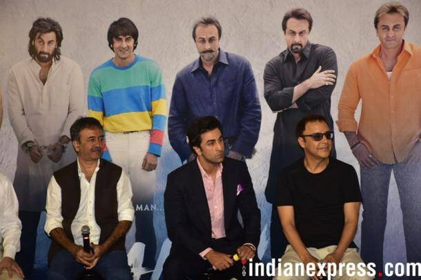 ranbir kapoor with director rajkumar hirani and producer vidhu vinod chopra at sanju teaser launch