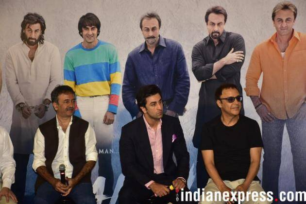 ranbir kapoor with director rajkumar hirani and producer vidhu vinod chopra at sanju teaser launch