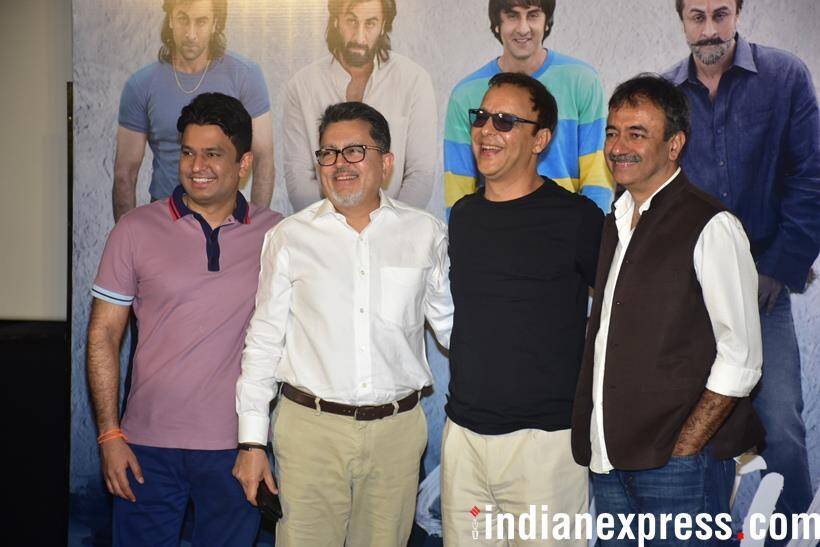 rajkumar hirani poses with vidhu vinod chopra at sanju teaser launch