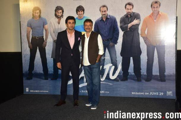 ranbir kapoor and director rajkumar hirani at the sanju teaser launch