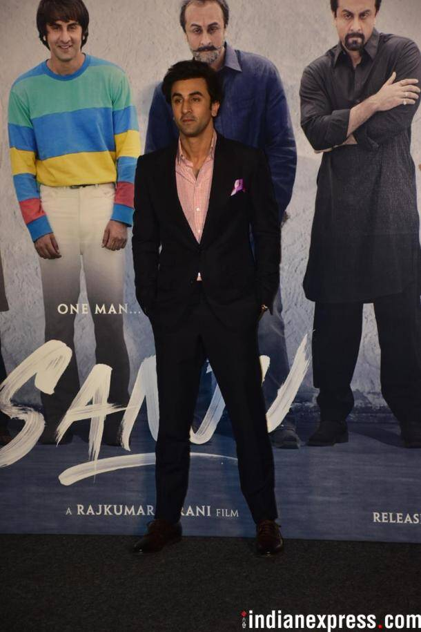 ranbir kapoor looked dapper at sanju teaser launch