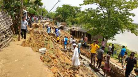 Eroded by the Barak River, road crumbles in Assam's Cachar district
