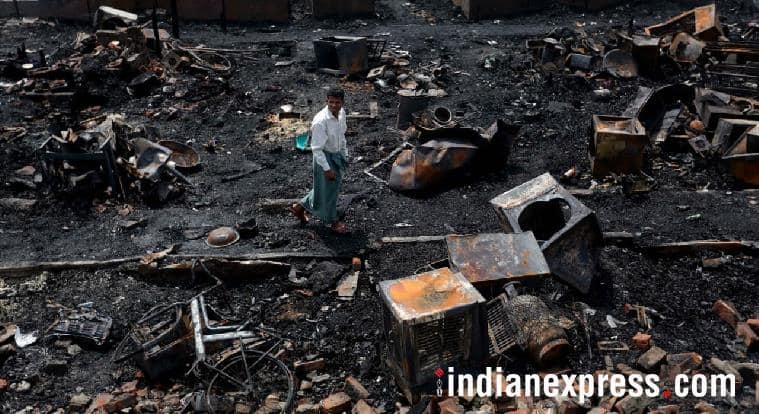 rohingya fire, rohingya shelter fire, rohingya refugees delhi, sarita vihar, madanpur khadar, rohingya shanties catch fire, delhi news, indian express