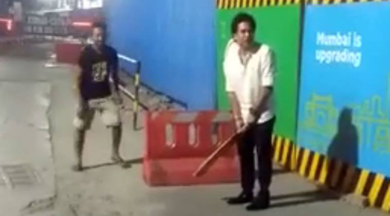 Sachin Tendulkar playing gully cricket