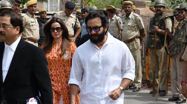 Actors Saif Ali Khan and Neelam arrive at the court on Thursday. (APH IMAGES/Exclusive)