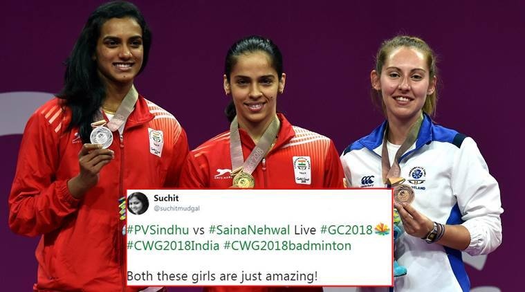 cwg 2018, saina nehwal, pv sindhu, women's singles, saina nehwal vs pv sindhu, cwg gold, badminton news, twitter reactions, gold coast 2018, indian express, indian express news