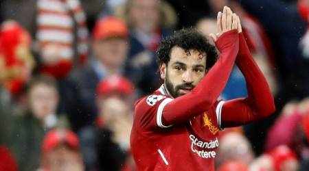 Liverpool's Mohamed Salah against AS Roma at Anfield