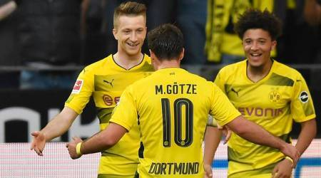 Jadon Sancho nets first Borussia Dortmund goal in 4-0 hammering of Bayer Leverkusen