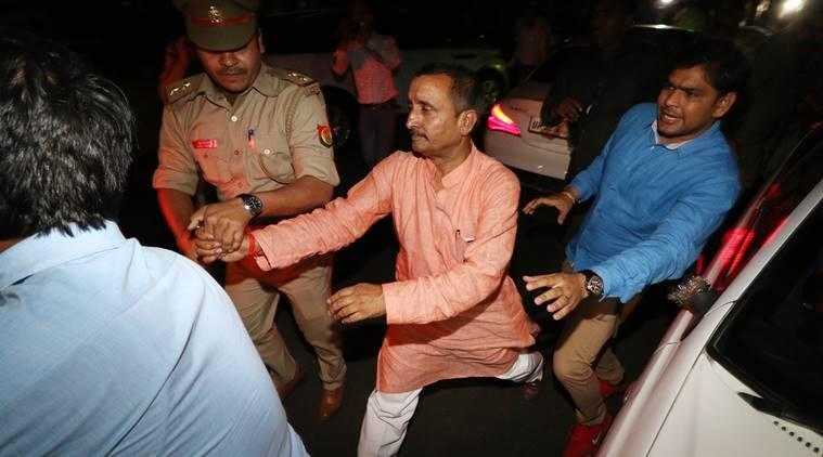 BJP MLA Kuldeep Singh Sengar along with his associates outside the SSP's office in Lucknow. (Express photo/Vishal Srivastav)