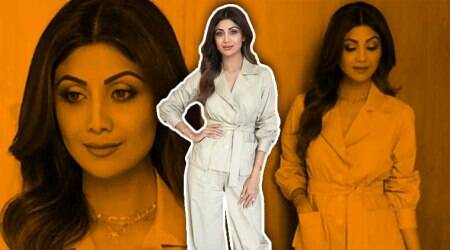 Shilpa Shetty's short trench coat and salwar combo is a great take on fusion fashion; see pics