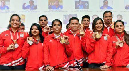India's shooting contingent after successful stint at the Commonwealth Games in Gold Coast