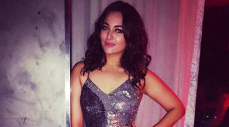 Sonakshi Sinha spreads some monochrome magic in her dazzling midi dress
