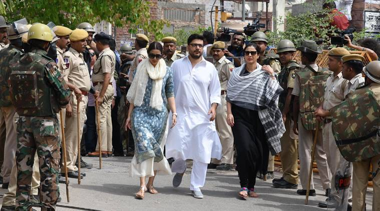Actors Sonali Bendre and Tabu outside the Jodhpur court on Thursday. (APH IMAGES/Exclusive)