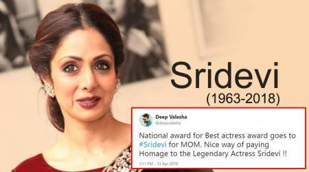 Twitterverse gets nostalgic as late actor Sridevi wins best actress award posthumously for movie MOM