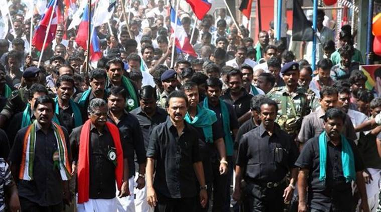 DMK working president M K Stalin at the rally in Tamil Nadu on Thursday. (Photo: Twitter/@mkstalin)