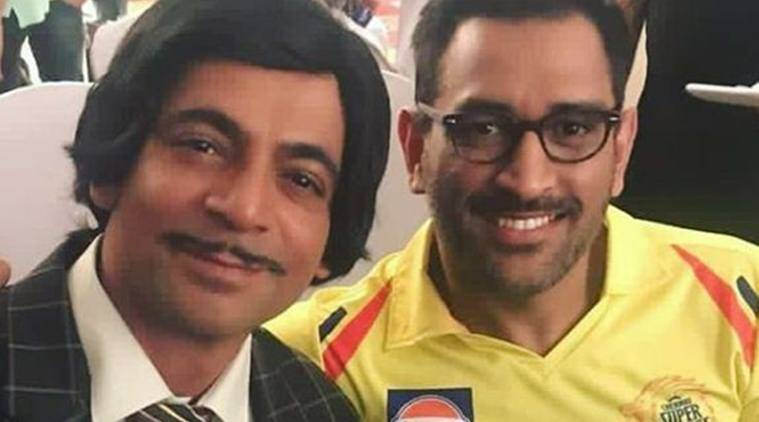Sunil Grover with MS Dhoni in Jio Dhan Dhana Dhan Live show