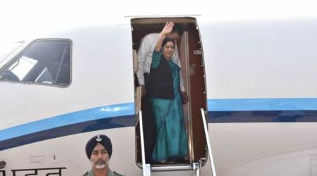 Sushma Swaraj arrives in Azerbaijan on three-day visit
