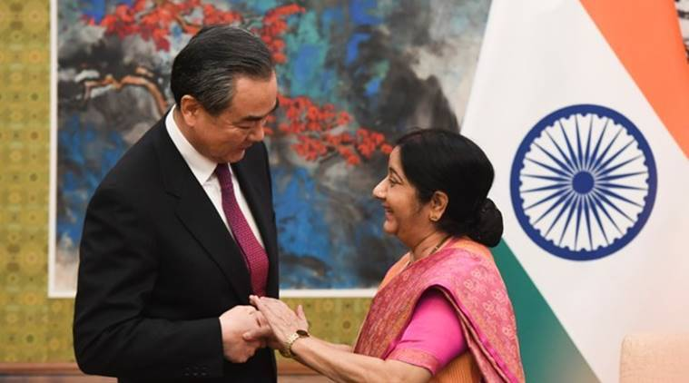 Sushma Swaraj meets her Chinese counterpart ahead of Modi-Xi meeting