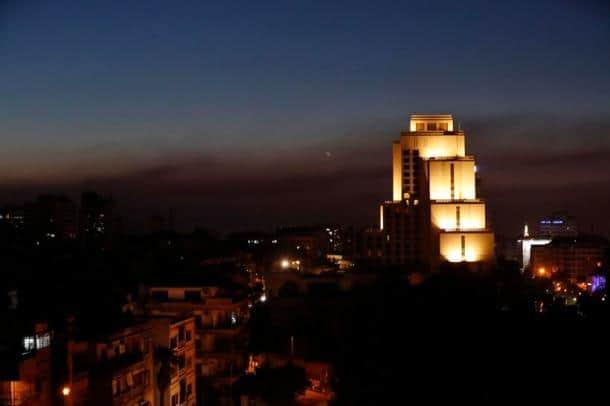 syria airstrike photos, damascus images, us airstrike on syria pictures, syria airstrike 2018 pics, donald trump, us, uk, france, britain, indian express