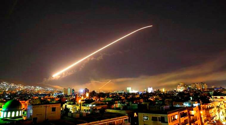 syria airstrike photos, damascus images, us airstrike on syria pictures, syria airstrike 2018 pics, donald trump, us, uk, france, britain, indian express