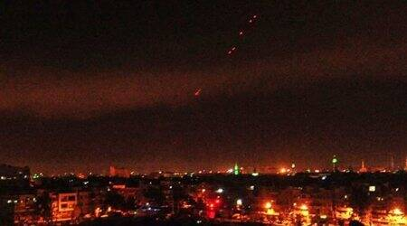 This photo released by the Syrian official news agency SANA, shows anti-aircraft fire in the sky after US-led airstrikes targeting different parts of the Syrian capital Damascus in retaliation for the country's alleged use of chemical weapons. (AP)