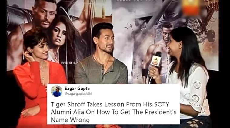 tiger shroff, tiger shroff president's name, tiger shroff doesn't know president's name video, tiger shroff getting president's name wrong video viral, Indian Express, Indian Express News