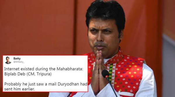Biplab Deb, Tripura cm, mahabharata, Internet during mahabharata, Biplab Deb comments on internet in mahabartha, mahabharat, Tripura CM, Biplab Deb Mahabharat comments, twitter reactions, Indian Express, Indian Express news