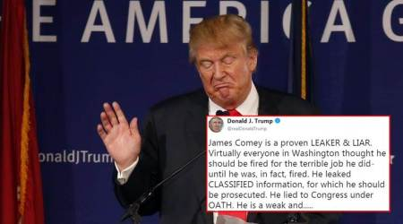 Donald trump, james comey, donald trump on james comey, donald trump calls james comey slime ball, merriem webster slime ball, indian express, indian express news