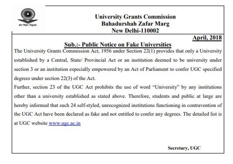 FAKE university india, fake universities list, ugc.ac.in, ugc fake university list