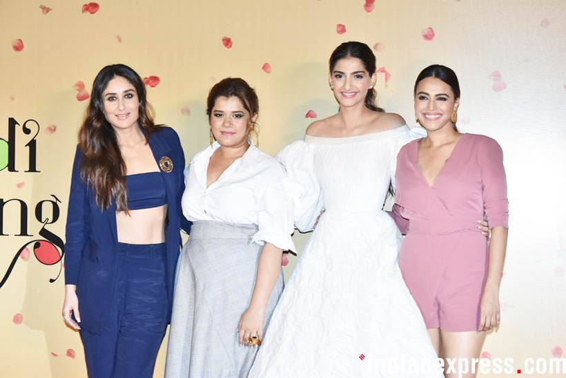 kareena kapoor khan, sonam kapoor, swara bhaskar, shikha talsania attend Veere Di Wedding trailer launch