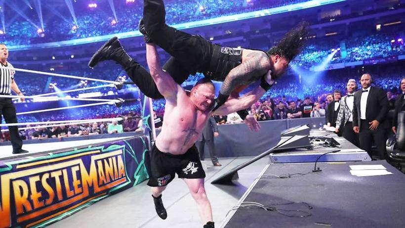 Brock Lesnar delivers F-5 to Roman Reigns