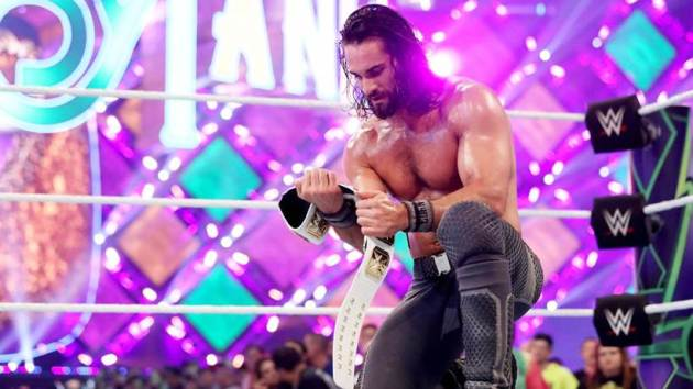 Seth Rollins with his Intercontinental Championship
