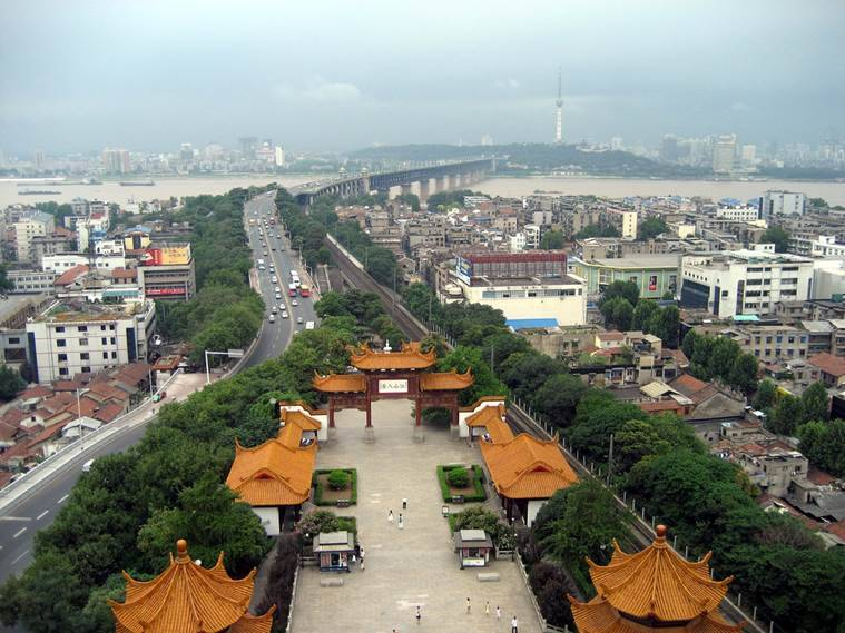 The city of Wuhan seen from the Yellow Crane Tower