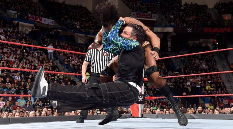 Jeff Hardy with a move on Jinder Mahal on WWE Raw
