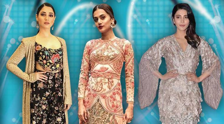Zee Apsara Awards 2018, Taapsee Pannu, Taapsee Pannu fashion, Taapsee Pannu Varun Bahl Couture, Shruti Haasan, Shruti Haasan fashion, Shruti Haasan Pallavi Mohan, Tamannaah Bhatia, Tamannaah Bhatia fashion, Tamannaah Bhatia Anamika Khanna, indian express, indian express news