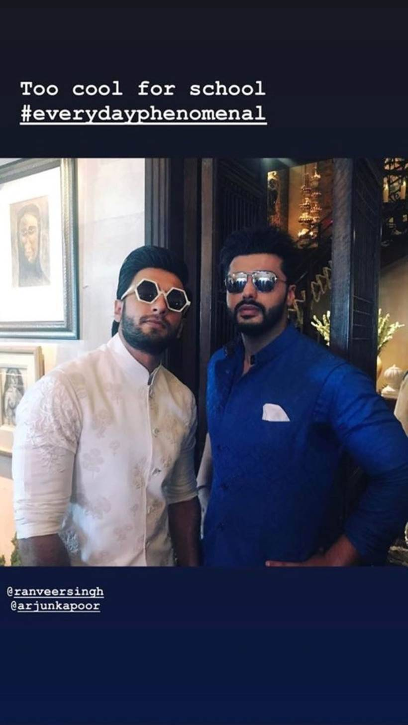 ranveer singh and arjun kapoor at sonam kapoor's wedding