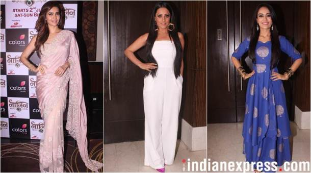 anita hassanandani, karishma tanna and surbhi jyoti at launch of Naagin 3