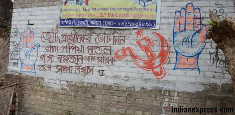 In Bengal pockets, saffron and red quietly share space
