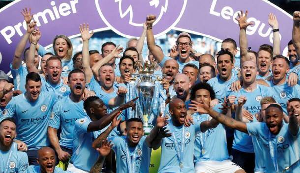 Manchester City lift English Premier League 2018 trophy