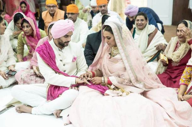 neha and angad at their wedding