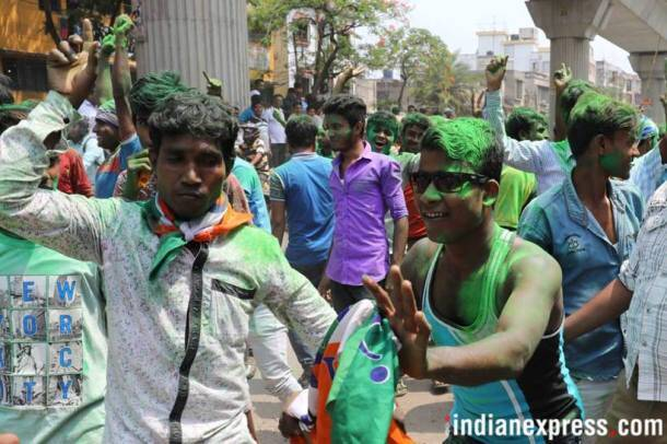 TMC supporters celebrate sweeping victory, BJP secures second spot