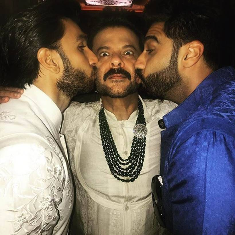 anil kapoor, arjun kapoor and ranveer singh at sonam kapoor's wedding