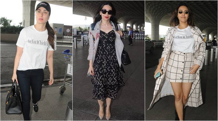 Kareena Kapoor Khan, Kareena Kapoor Khan fashion, Kareena Kapoor Khan airport fashion, Kareena Kapoor Khan Veere Di Wedding, Karisma Kapoor, Karisma Kapoor airport fashion, indian express, indian express news