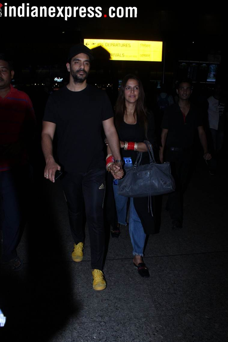 angad bedi and neha dhupia are back from US
