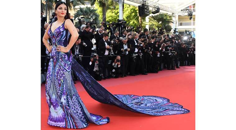 Aishwarya Rai Bachchan, Aishwarya Rai Bachchan Cannes, Aishwarya Rai Bachchan Michael Cinco gown, Aishwarya Rai Bachchan Cannes fashion, Aishwarya Rai Bachchan Cannes 2018 look, Aishwarya Rai Bachchan fashion, Aishwarya Rai Bachchan latest photos, indian express, indian express news
