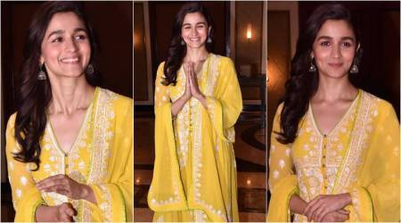Raazi success party: Alia Bhatt's butter yellow anarkali is ideal for a day function