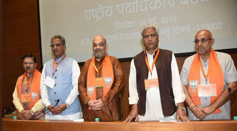 BJP chief Amit Shah at the meeting on Monday. (Twitter/@AmitShah)