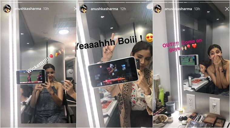 Anushka Sharma cheers for Virat Kohli from the sets of Zero