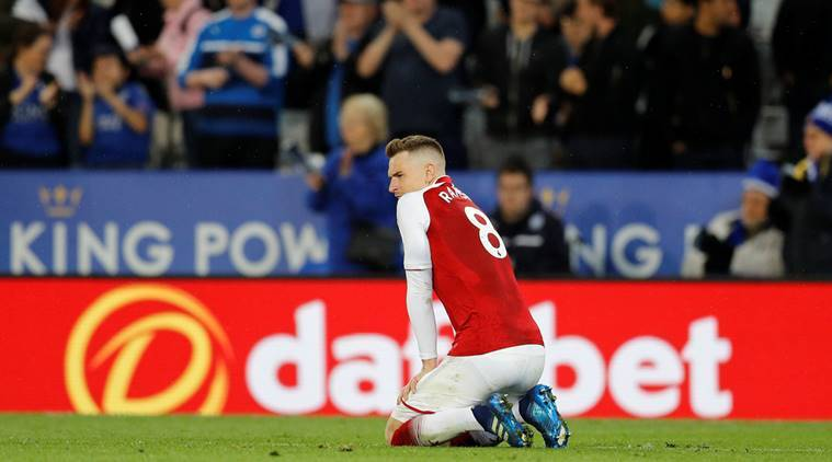 Arsenal's Aaron Ramsey looks dejected after the match against Leicester City