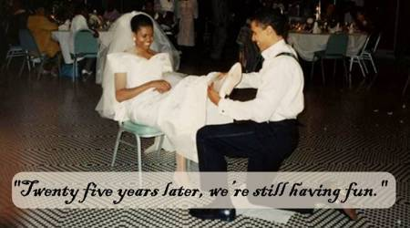 'We ended up dancing all night': Michelle Obama posts never-seen-before wedding photo with Barack Obama